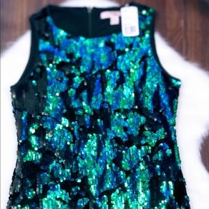 Forever 21 green and blue sequined party dress